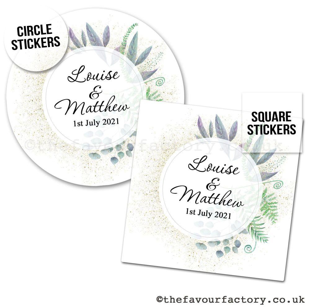 Personalised Wedding Favour Stickers Botanical Romance