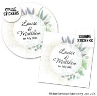 Personalised Wedding Favour Stickers Botanical Romance