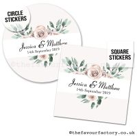Personalised Wedding Favour Stickers Boho Floral Heart
