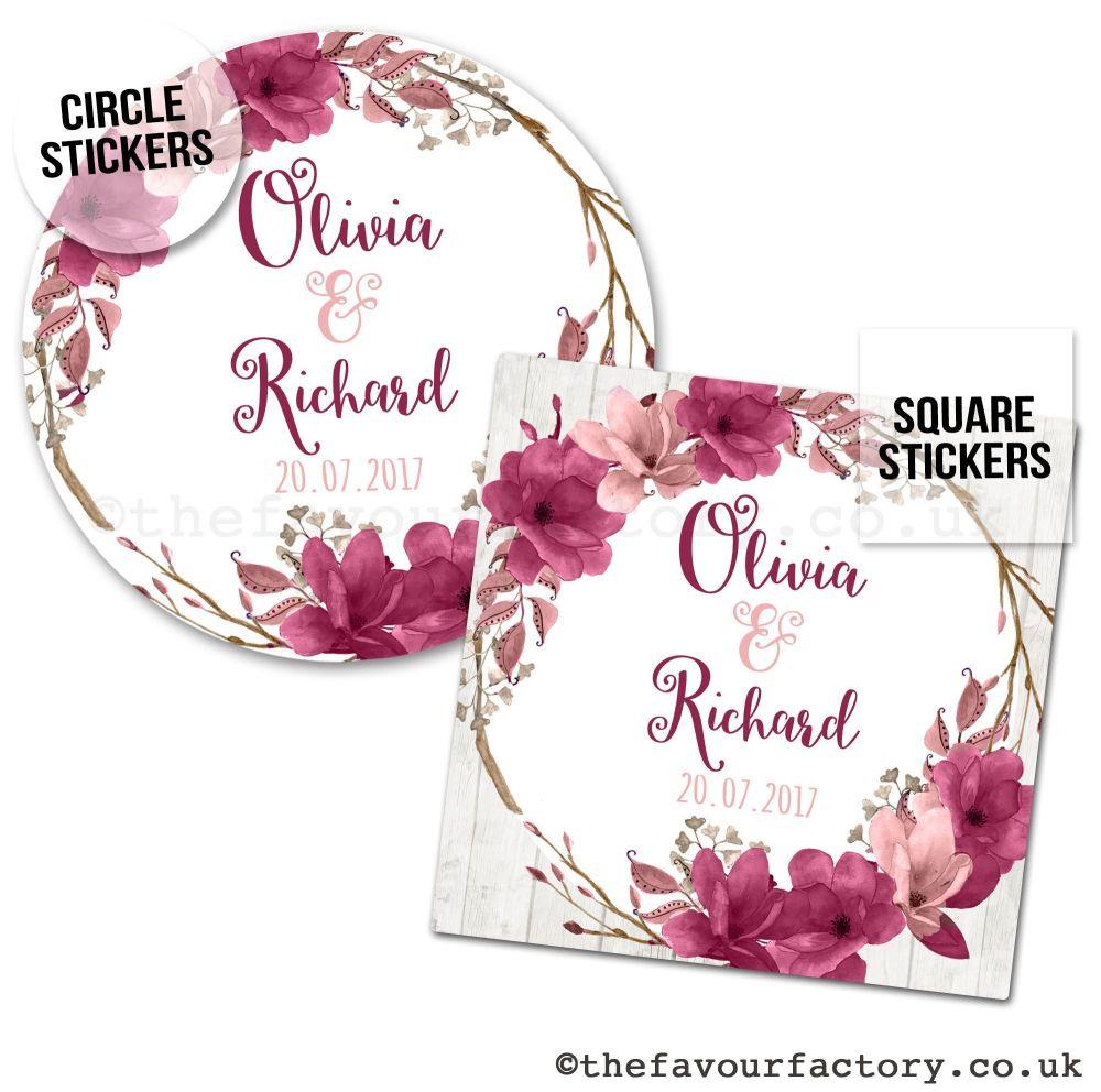 Personalised Wedding Stickers Burgundy Rose Floral Wreath