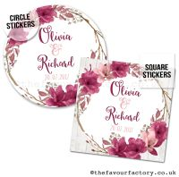 Personalised Wedding Stickers Burgundy Rose Floral Wreath
