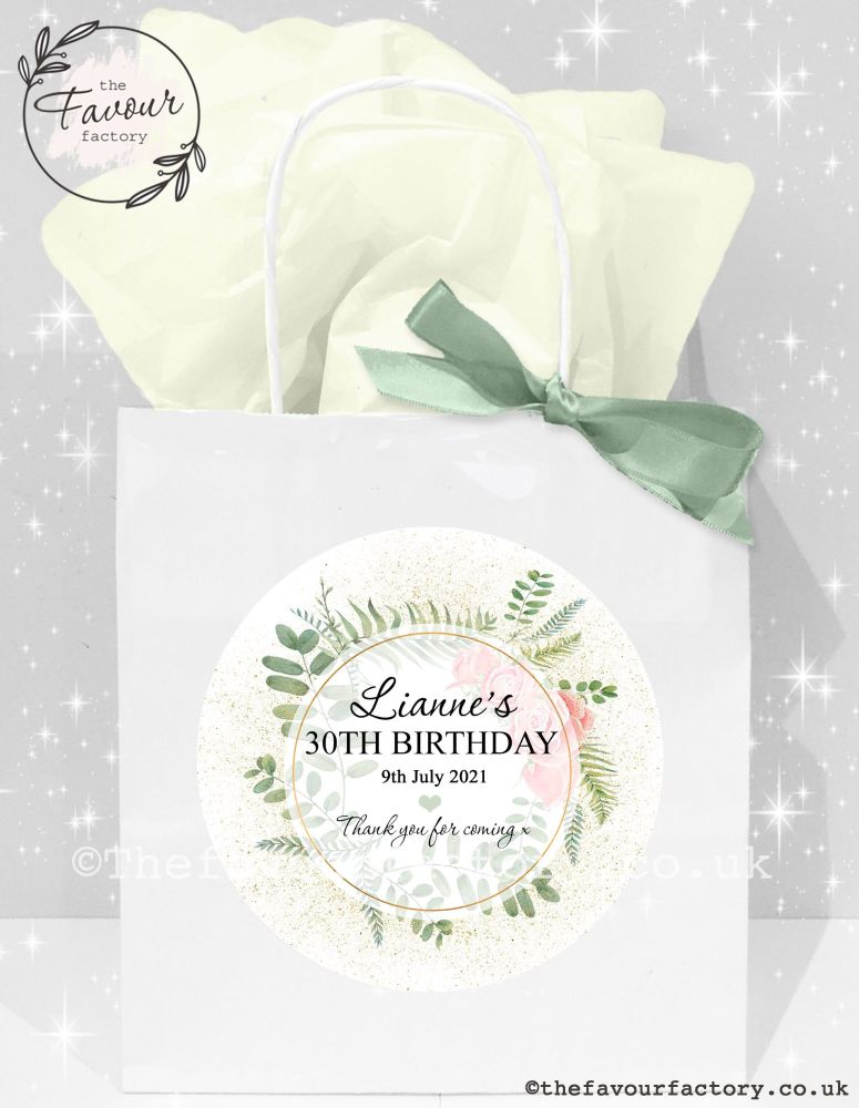Adult Birthday Party Bags Botanical Gold Dust Roses x1