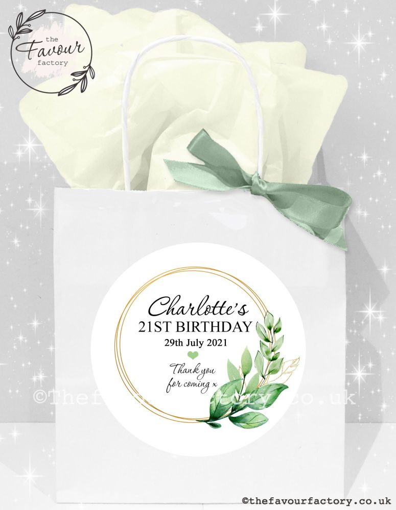 Adult Birthday Party Bags Botanical Gold Frame x1