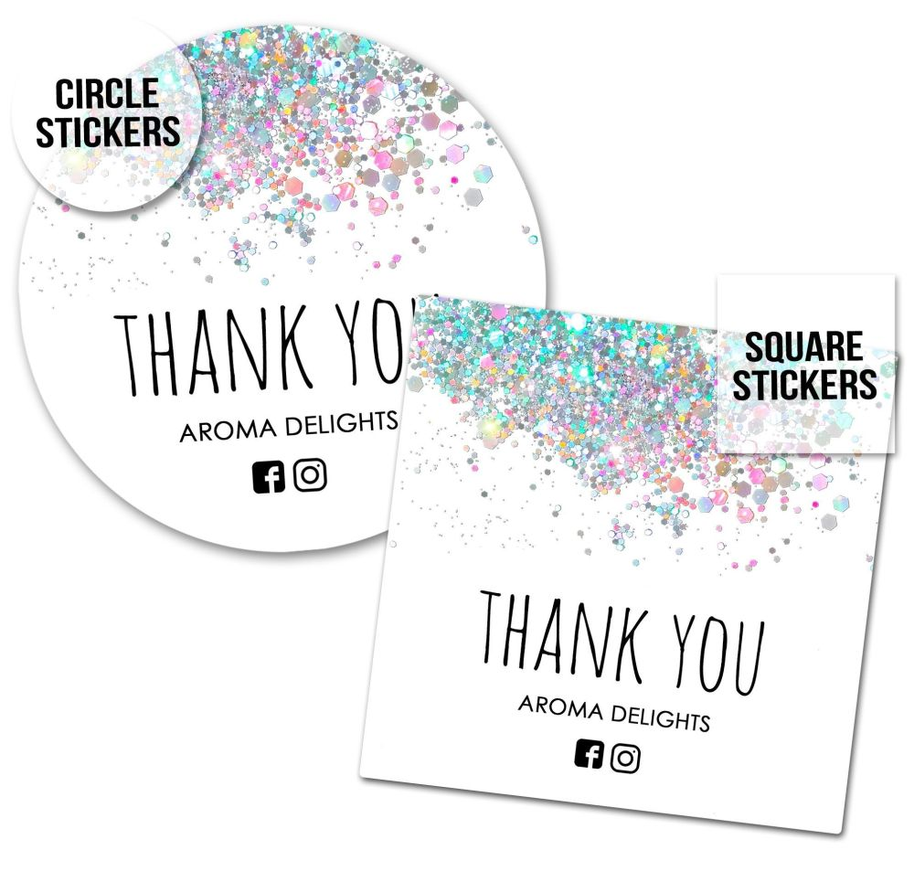 Thank You Business Stickers Labels Packaging Seals Confetti Glitter White