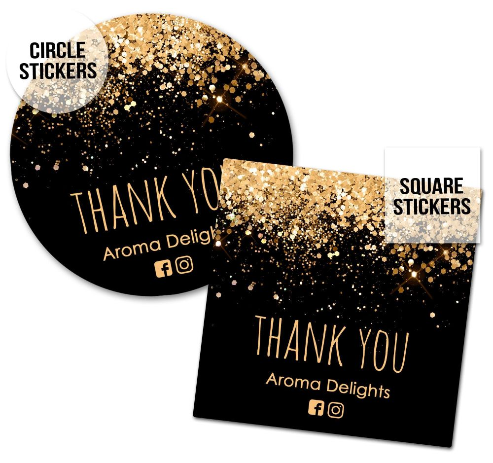 Thank You Business Stickers Labels Packaging Seals Confetti Glitter Gold