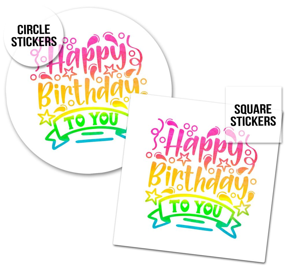 Birthday Stickers Watercolour Rainbow