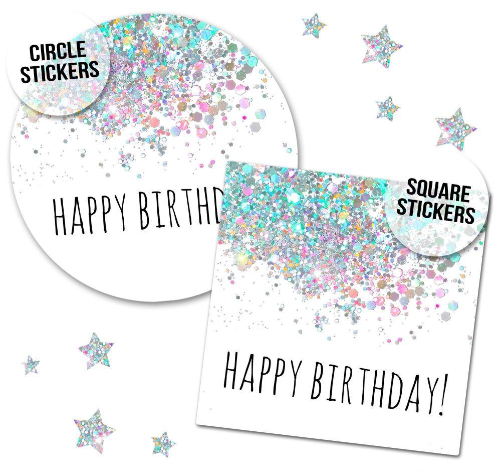 Birthday Stickers Glitter Confetti White