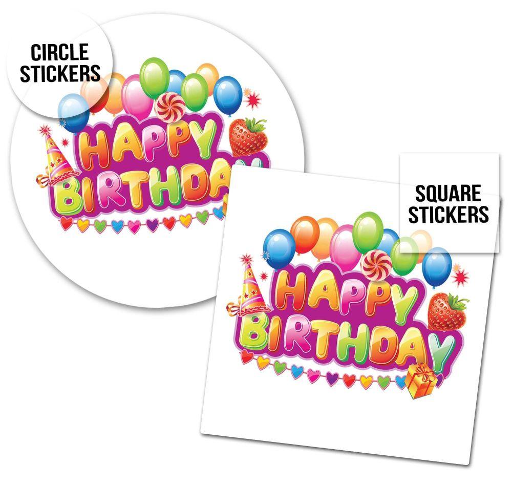 Birthday Stickers Bright Balloons