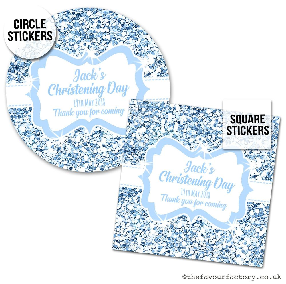 Christening Stickers Blue Glitter 1x A4 Sheet.