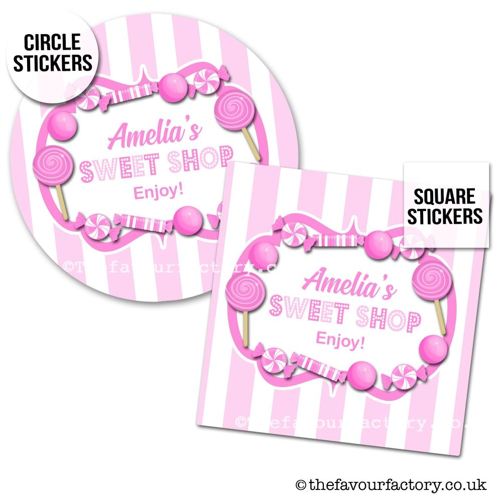 Childrens Party Stickers Sweet Shop Style In Pink x1 A4 Sheet