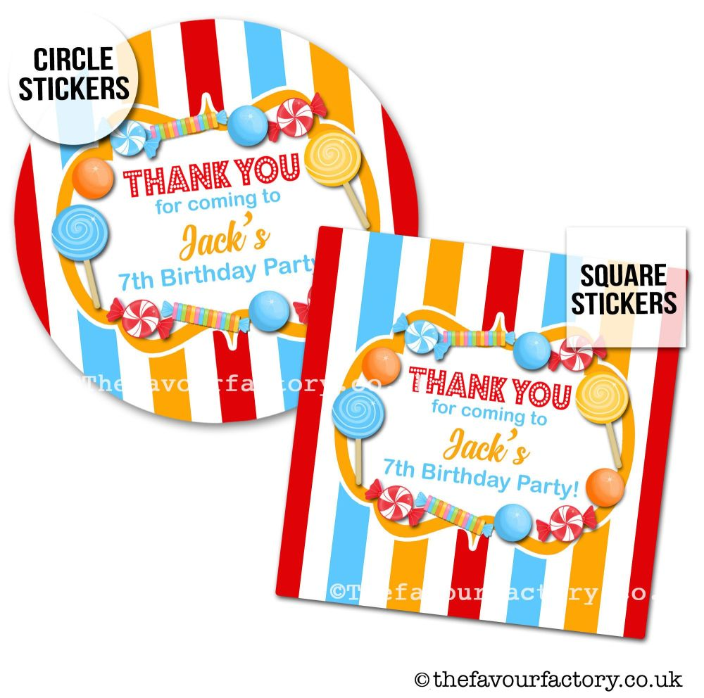 Childrens Party Stickers Sweet Shop Style In Circus Theme x1 A4 Sheet