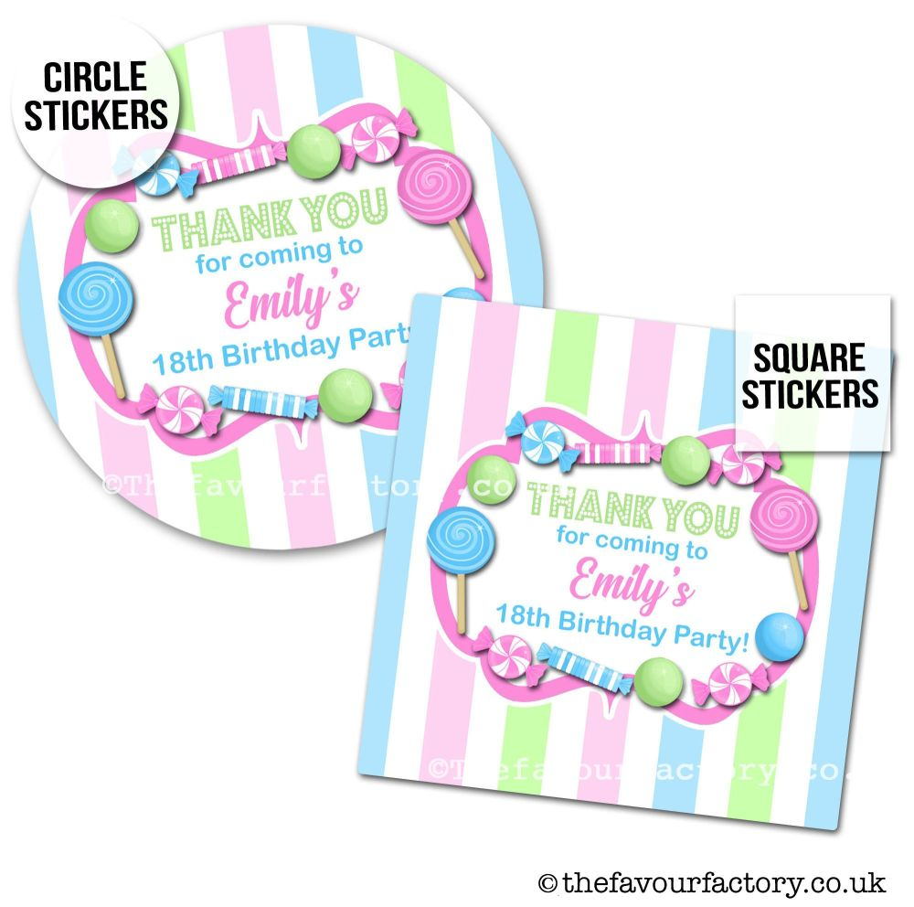 Childrens Party Stickers Sweet Shop Style In Pastels x1 A4 Sheet