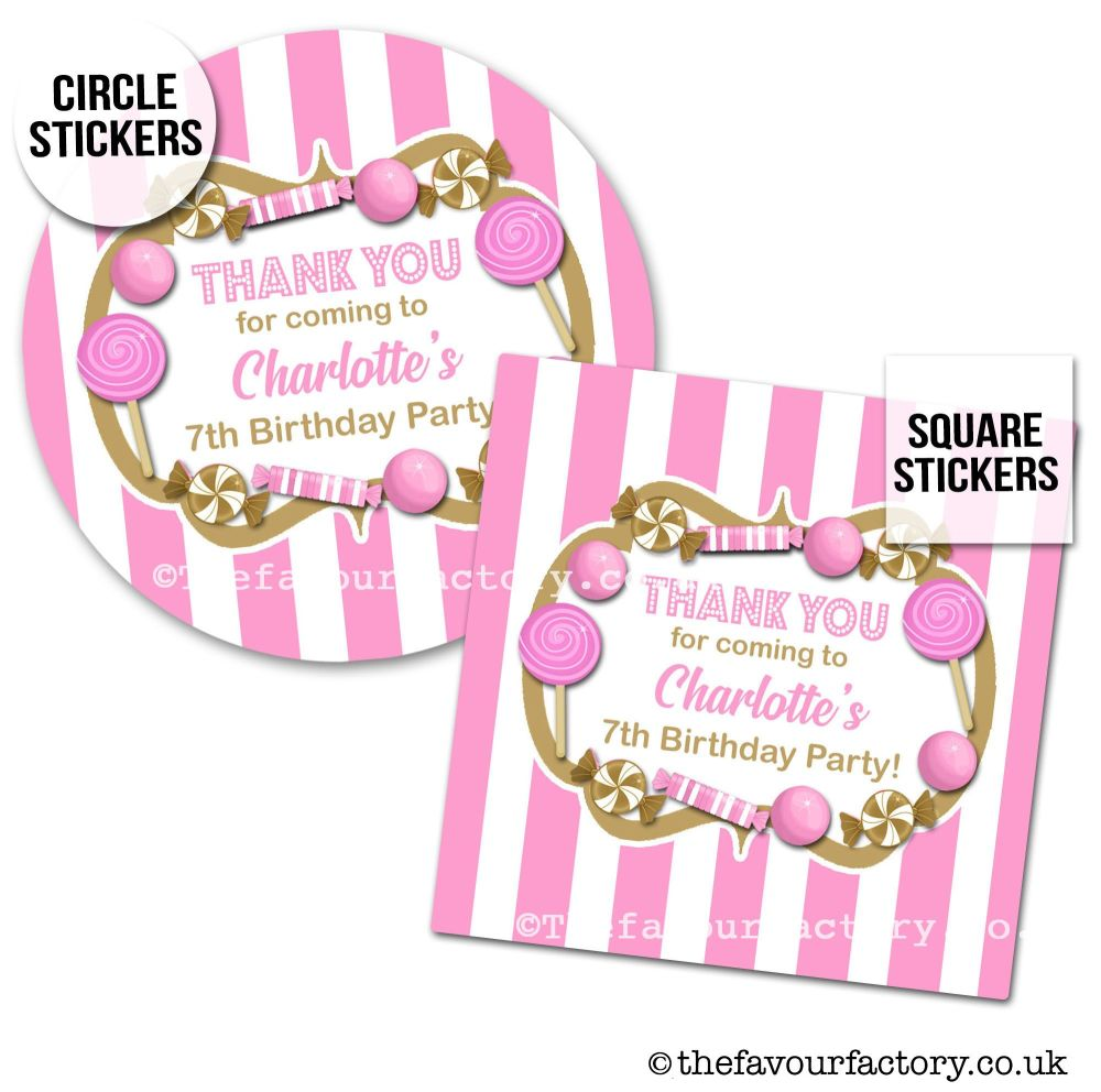 Childrens Party Stickers Sweet Shop Style In Pink & Gold  x1 A4 Sheet
