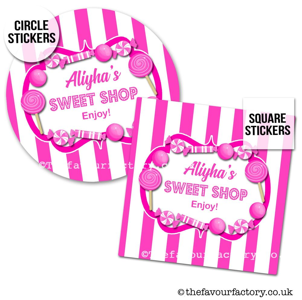 Childrens Party Stickers Sweet Shop Style In Hot Pink x1 A4 Sheet