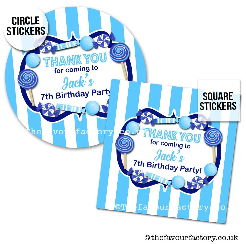Childrens Party Stickers Sweet Shop Style In Sky Navy Blue x1 A4 Sheet