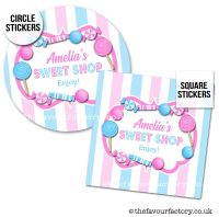 Childrens Party Stickers Sweet Shop Style In Pink & Blue x1 A4 Sheet