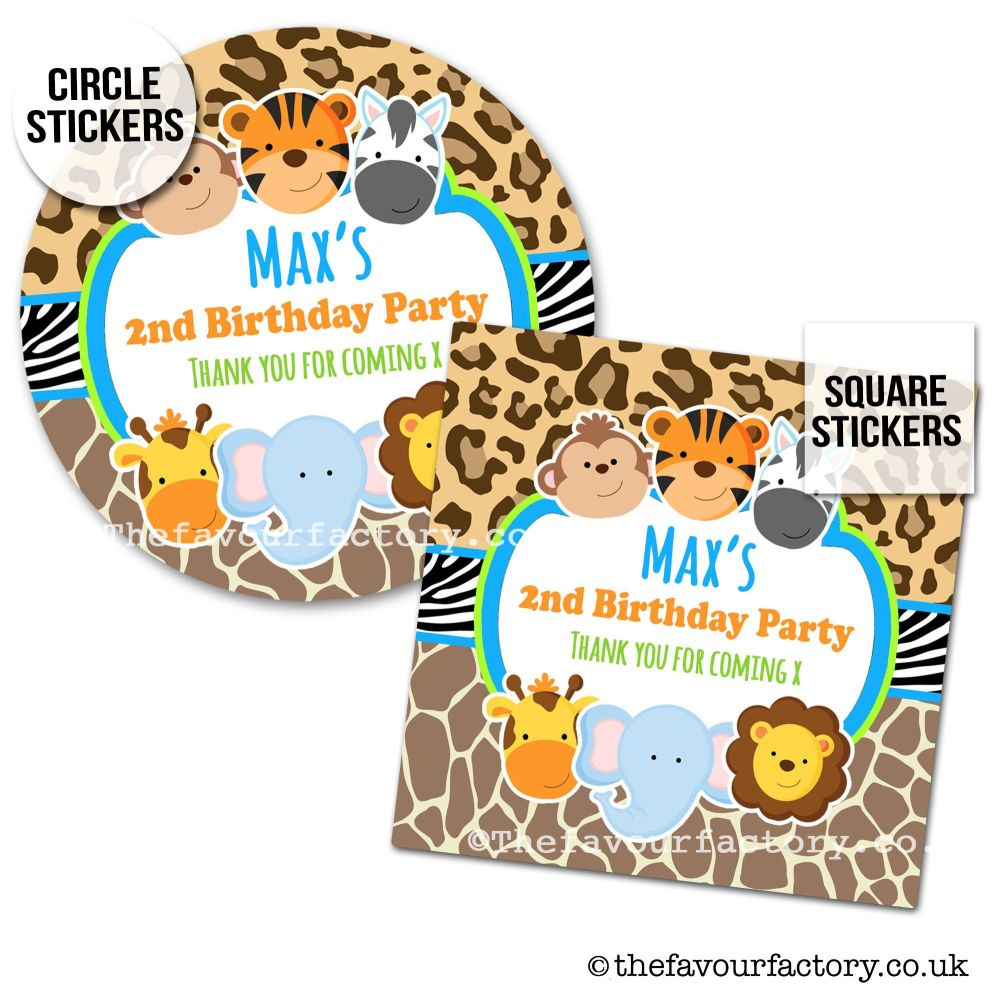Childrens Party Stickers Jungle Wild Animals Boys x1 A4 Sheet