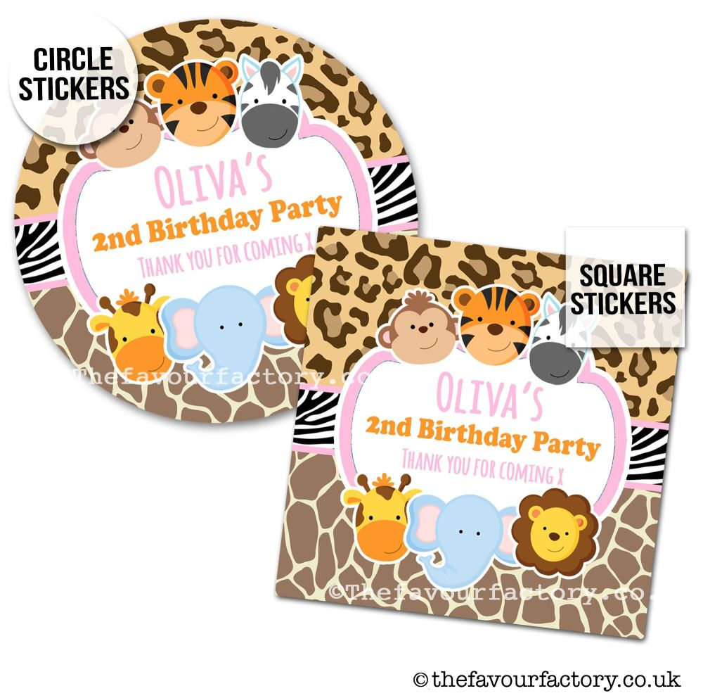 Childrens Party Stickers Jungle Wild Animals Girls x1 A4 Sheet