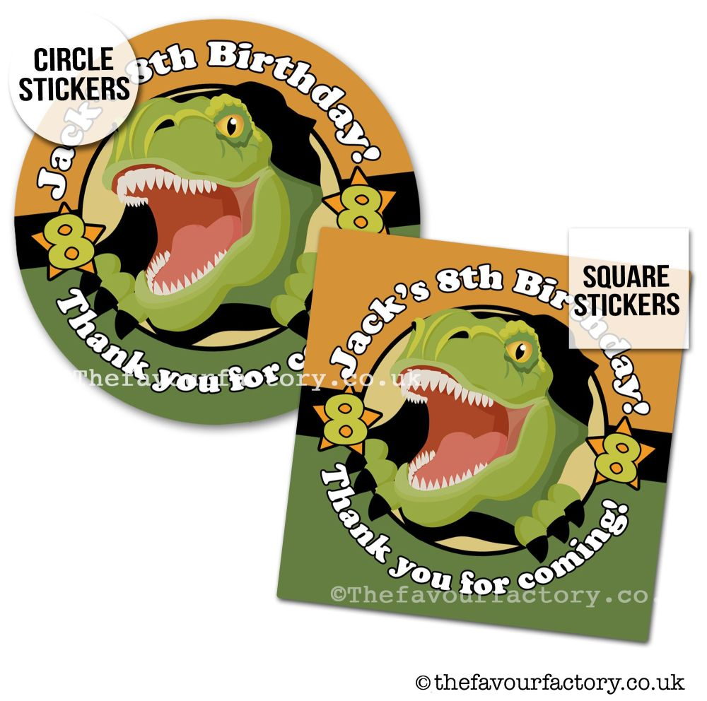Childrens Party Stickers Scary Dinosaur Roar x1 A4 Sheet