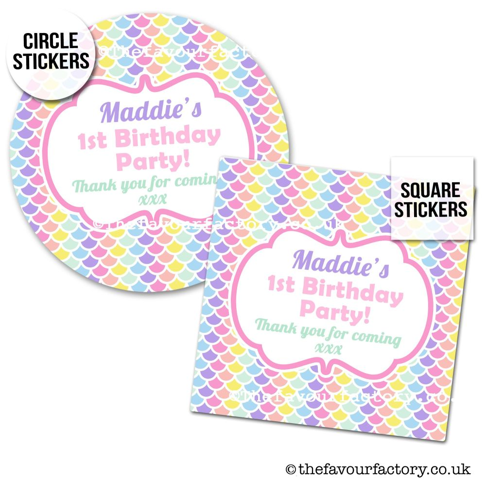 Childrens Party Stickers Pastels Mermaid Scales x1 A4 Sheet