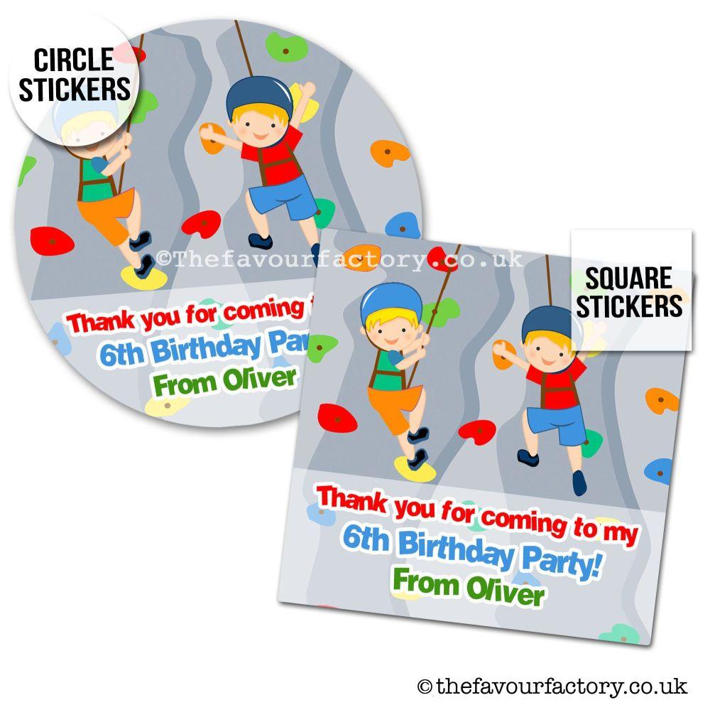 Childrens Party Stickers Boys Rock Wall Climbing x1 A4 Sheet