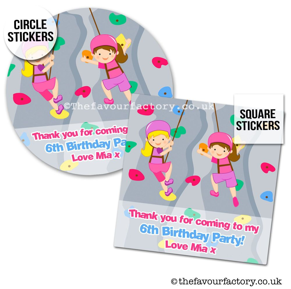 Childrens Party Stickers Girls Rock Wall Climbing x1 A4 Sheet
