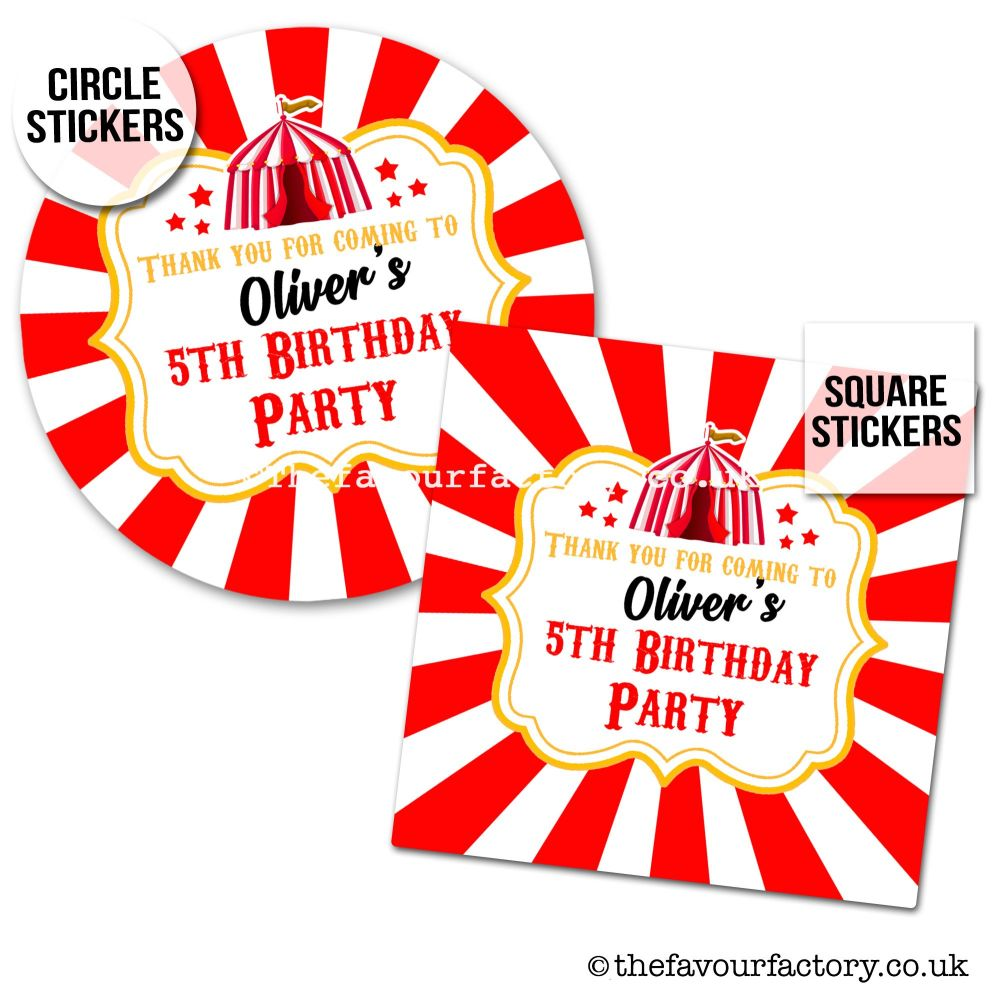 Childrens Party Stickers Carnival Circus Tent x1 A4 Sheet