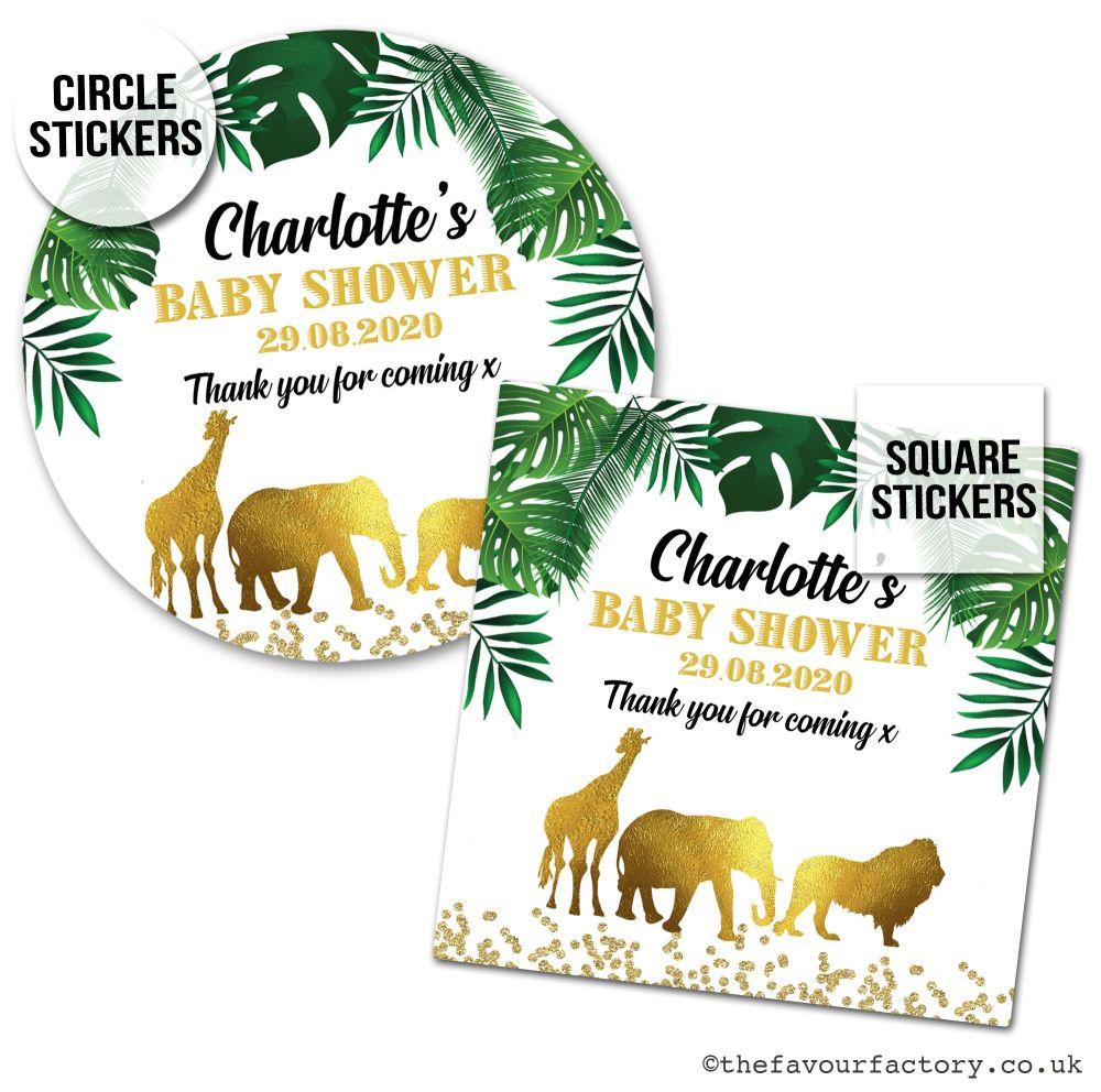 Baby Shower Favour Stickers Gold Safari Animals A4 Sheet Pre-Cut x1