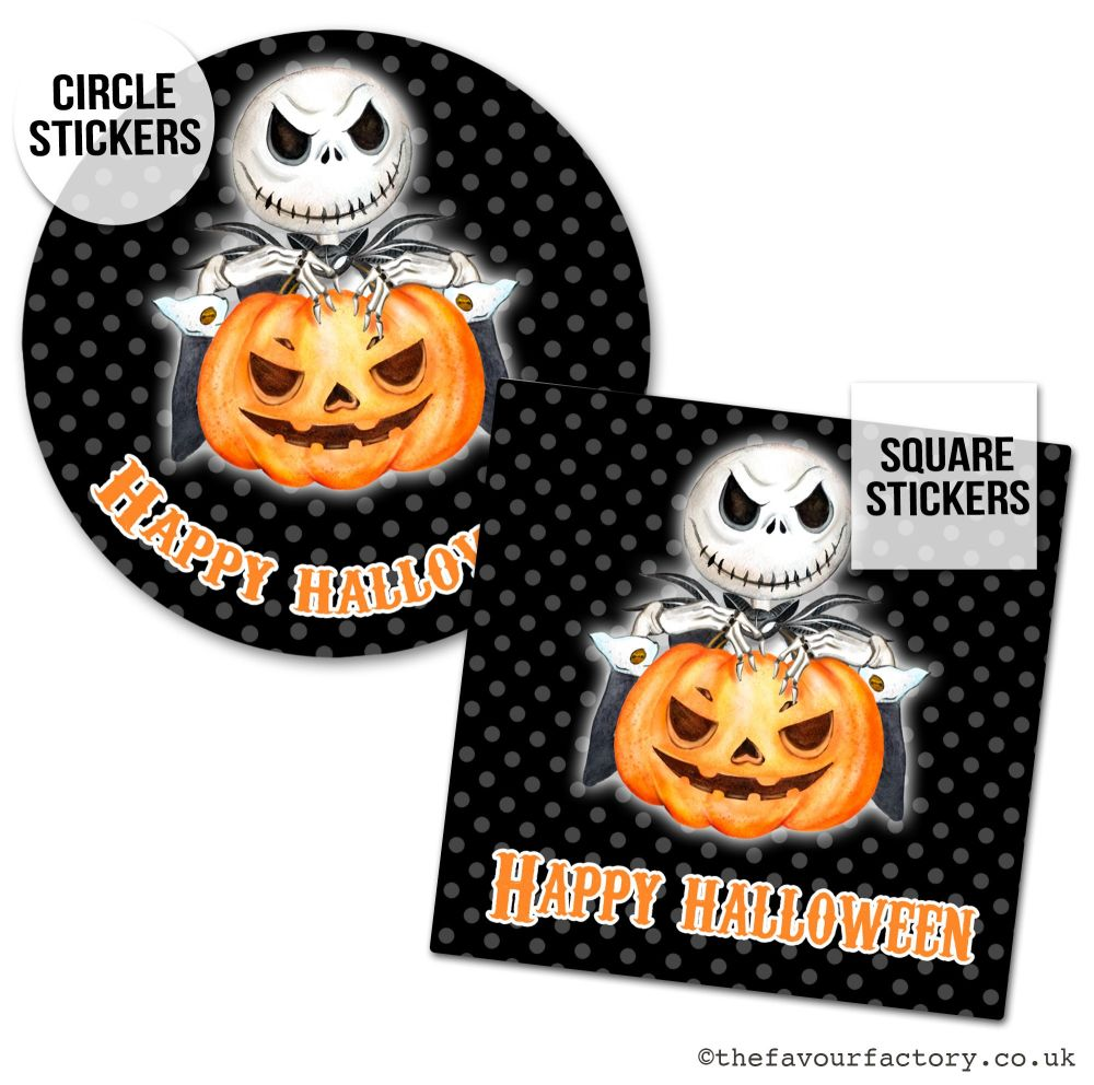 Happy Halloween Stickers Skeleton And Pumpkin - x1 A4 Sheet