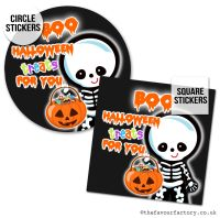 Happy Halloween Stickers Boo Treats For You Skeleton - x1 A4 Sheet
