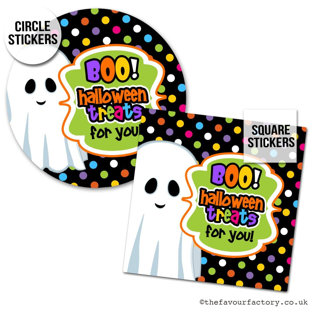 Happy Halloween Stickers Boo Treats For You Ghost - x1 A4 Sheet