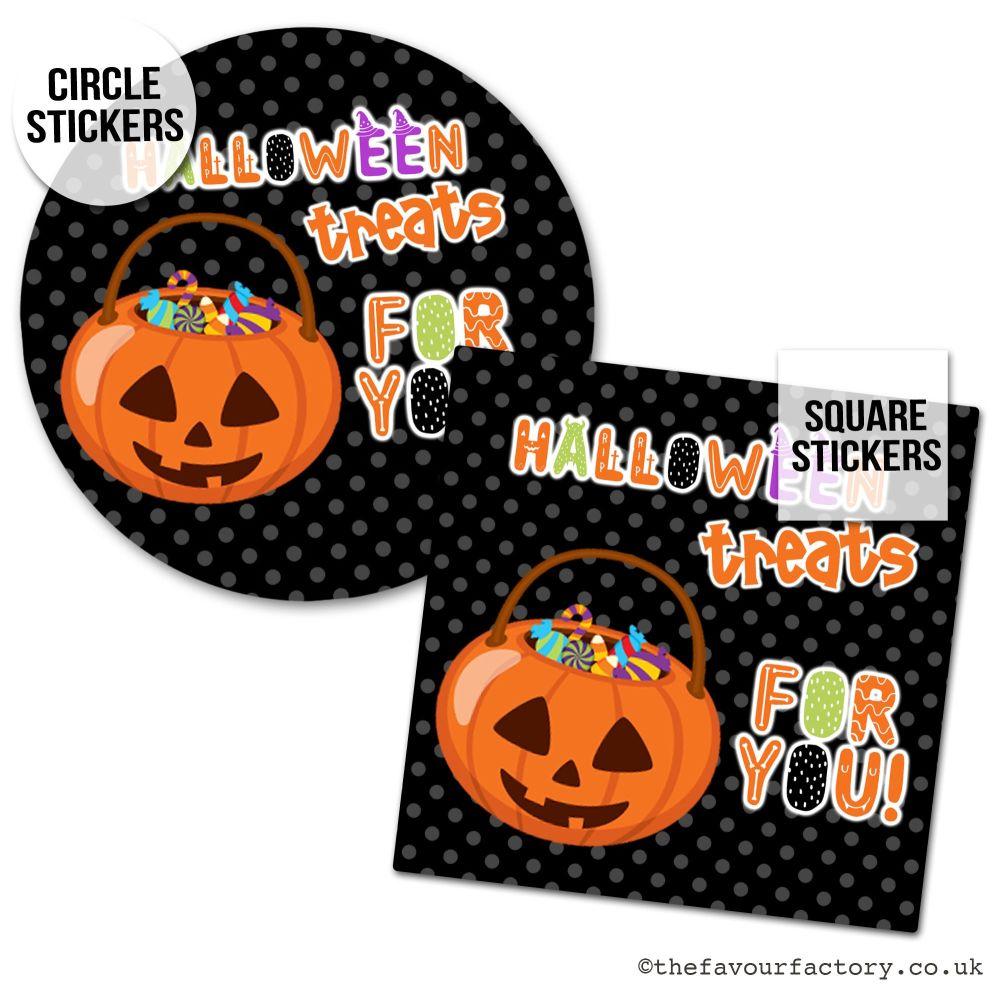 Happy Halloween Stickers Treats For You Pumpkin Bucket - x1 A4 Sheet