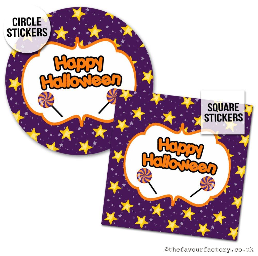 Happy Halloween Stickers Stars & Lollipops - x1 A4 Sheet