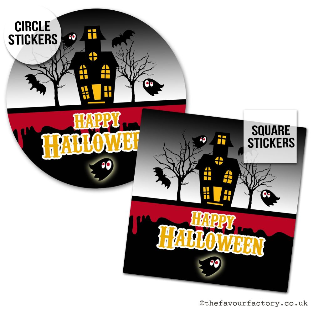 Happy Halloween Stickers Haunted House - x1 A4 Sheet