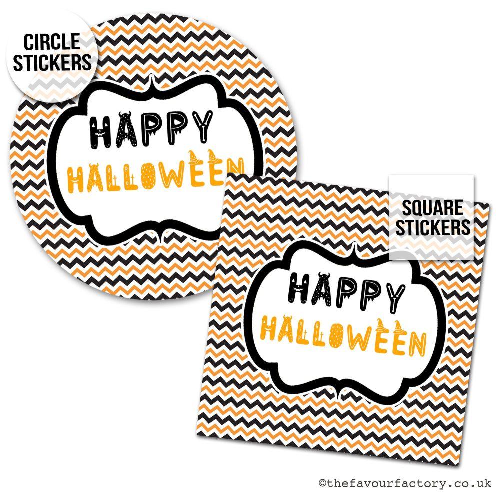 Happy Halloween Stickers Zig Zags - x1 A4 Sheet