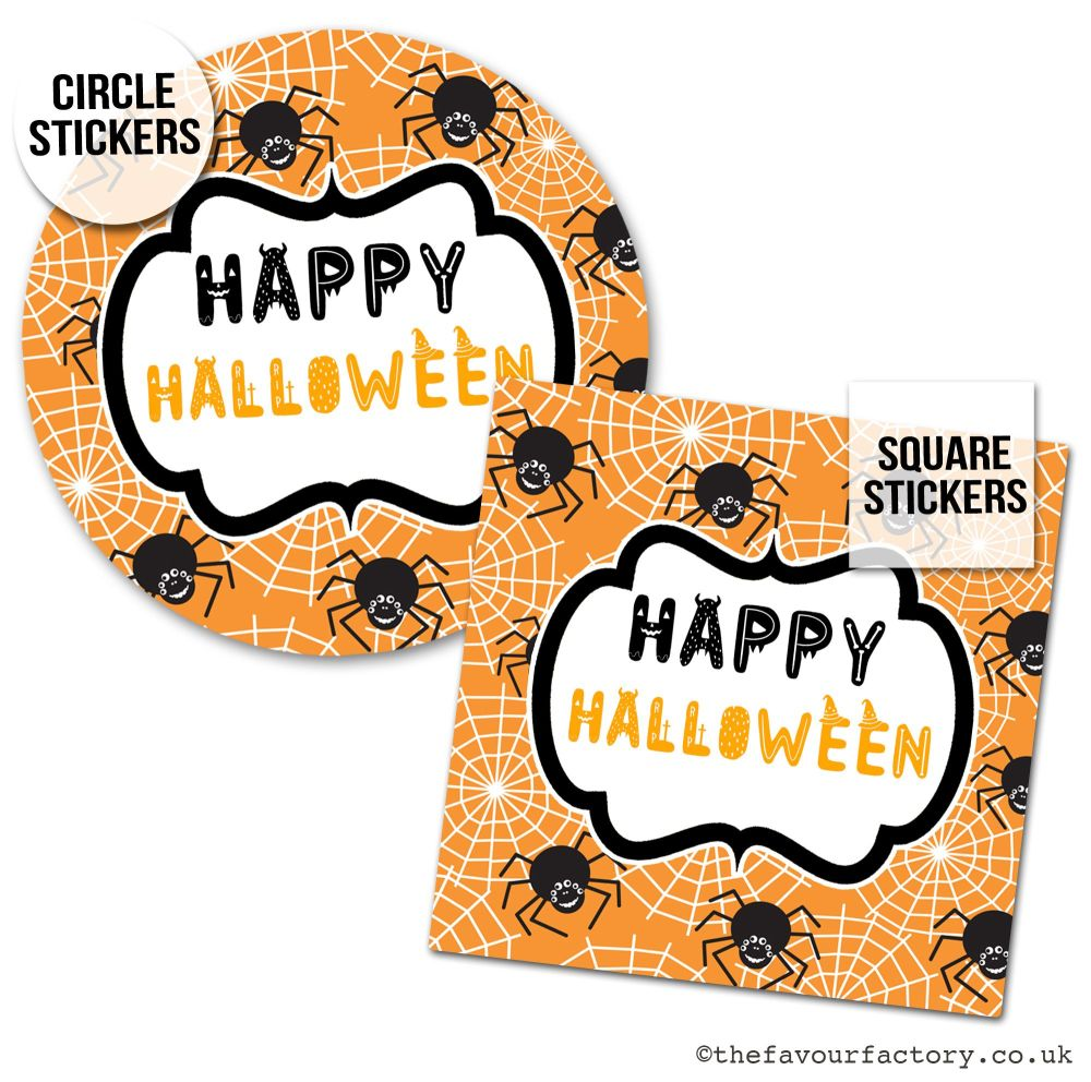 Happy Halloween Stickers Spiders - x1 A4 Sheet