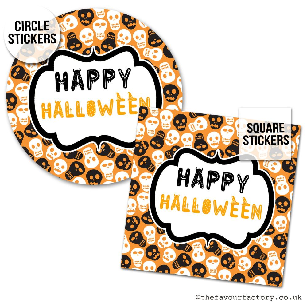 Happy Halloween Stickers Skulls - x1 A4 Sheet