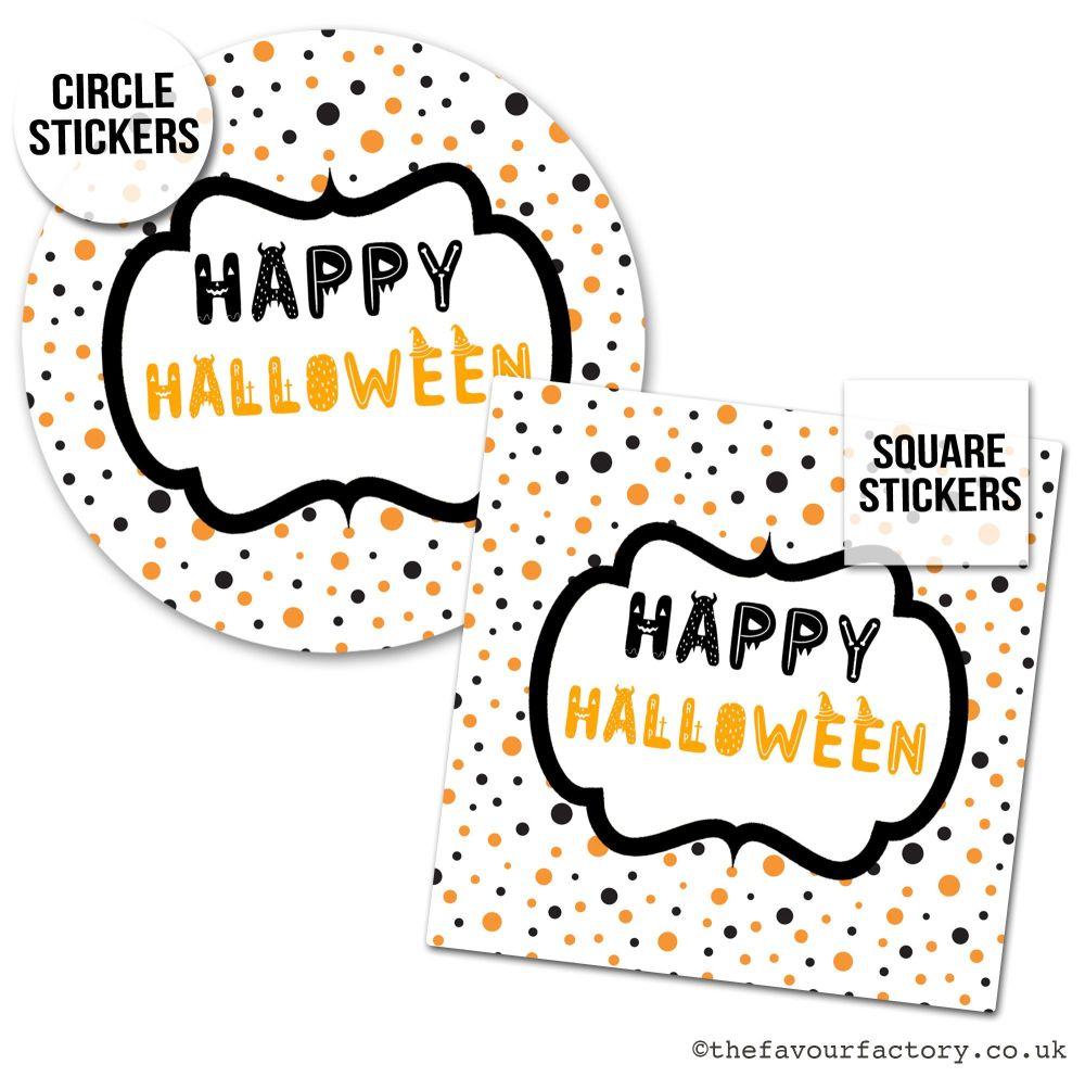 Happy Halloween Stickers Polka Dots - x1 A4 Sheet