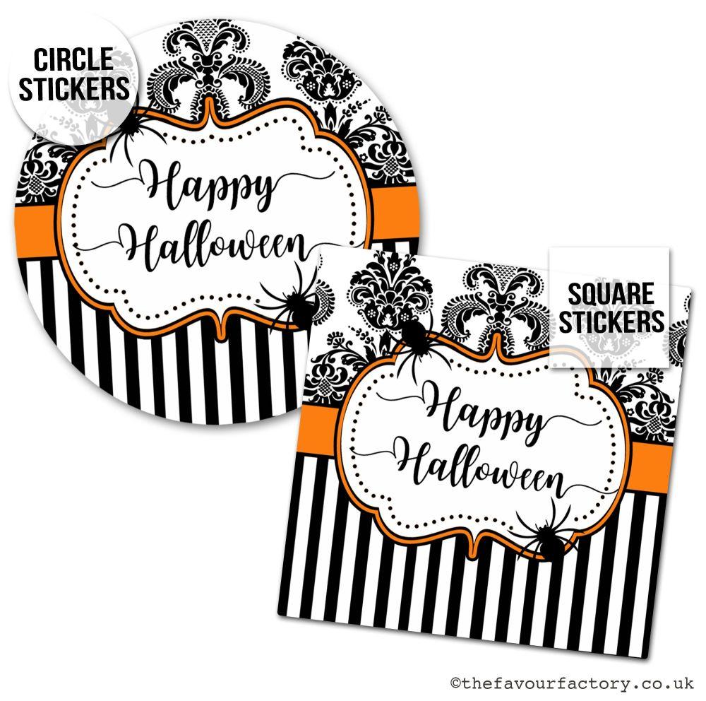 Happy Halloween Stickers Damask Stripes - x1 A4 Sheet