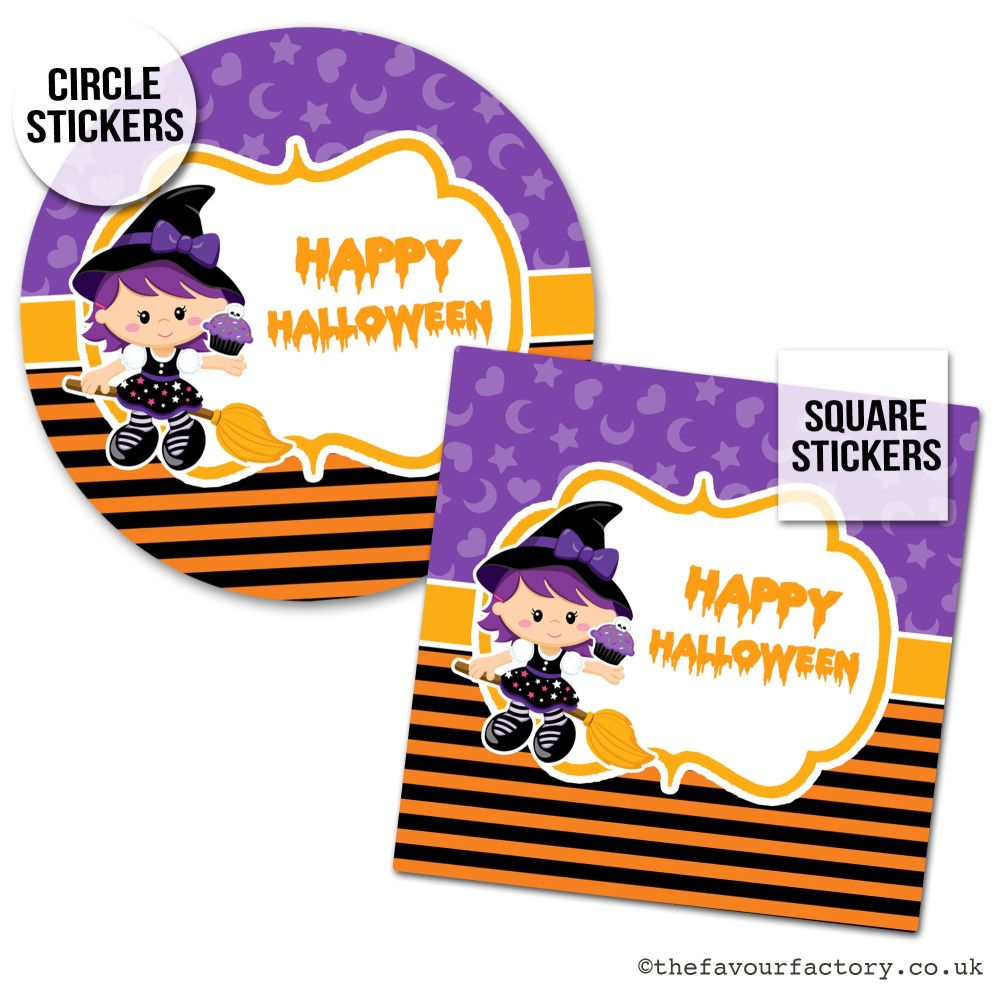 Happy Halloween Stickers Little Witch - x1 A4 Sheet