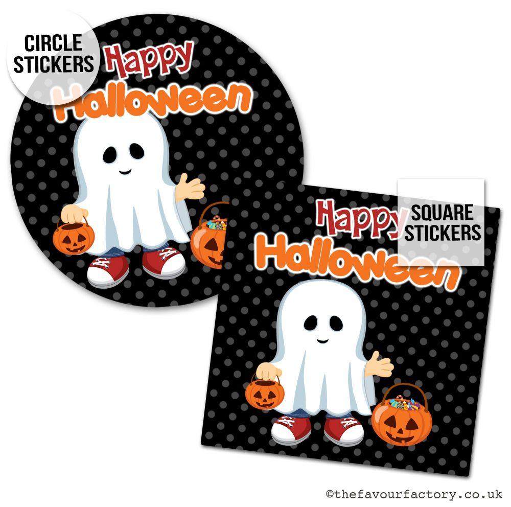 Happy Halloween Stickers Little Ghost Boy - x1 A4 Sheet
