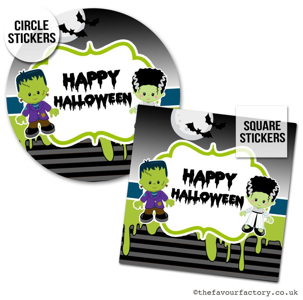 Happy Halloween Stickers Frankenstein - x1 A4 Sheet