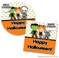 Happy Halloween Stickers Dress Up Kids - x1 A4 Sheet