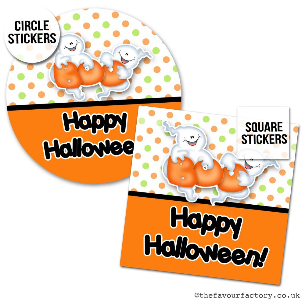 Happy Halloween Stickers Boo Cute Ghosts - x1 A4 Sheet