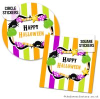 Happy Halloween Stickers Sweets Candy Stripes - x1 A4 Sheet