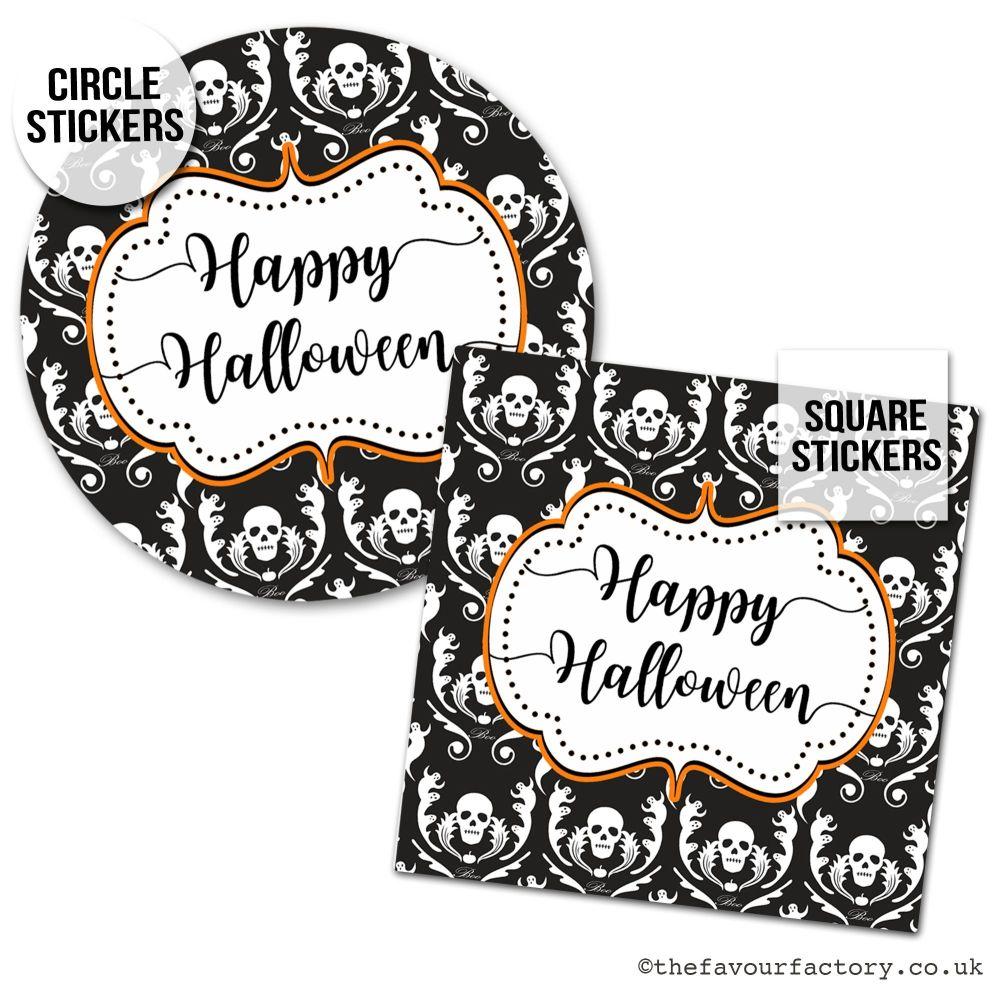 Happy Halloween Stickers Skeleton Damask - x1 A4 Sheet