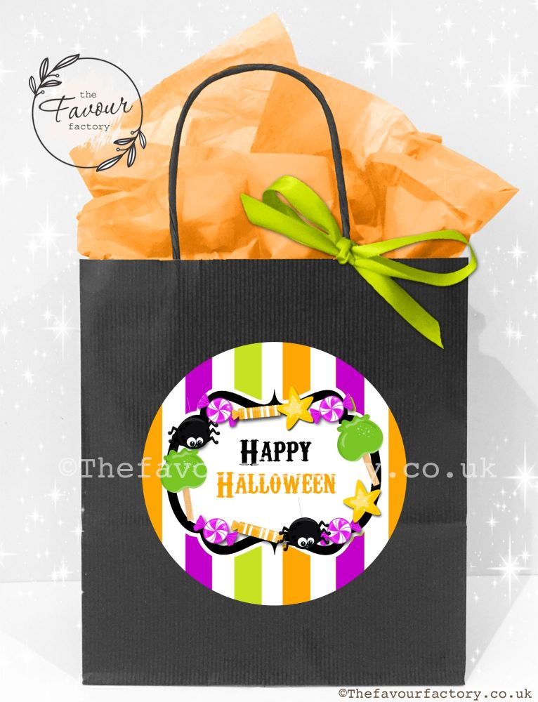 Halloween Party Bags Candy Sweets Stripes x1