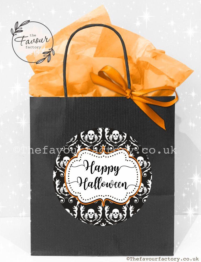 Halloween Party Bags Vintage Damask Skulls x1