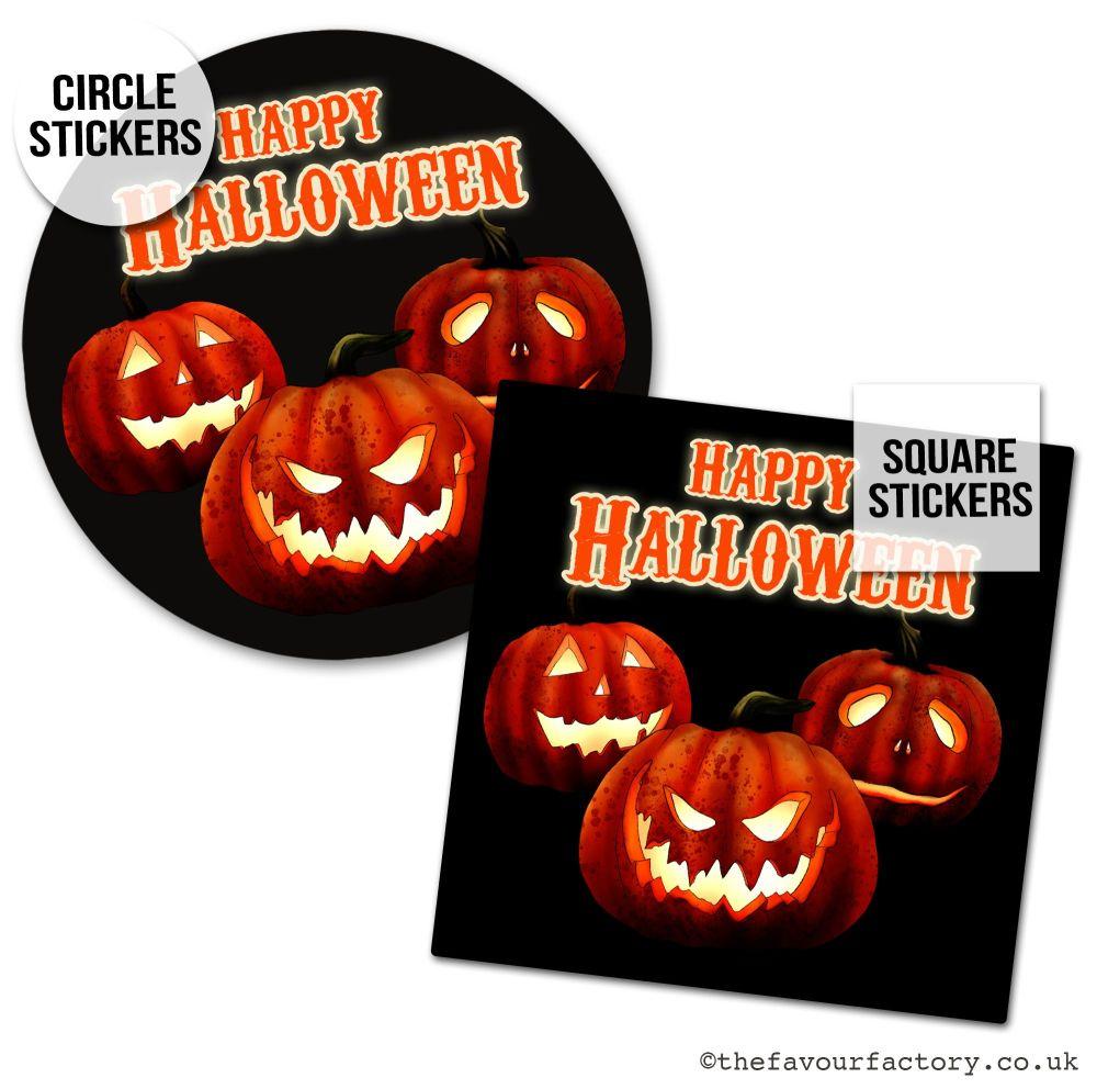 Happy Halloween Stickers Glowing Pumpkins - x1 A4 Sheet