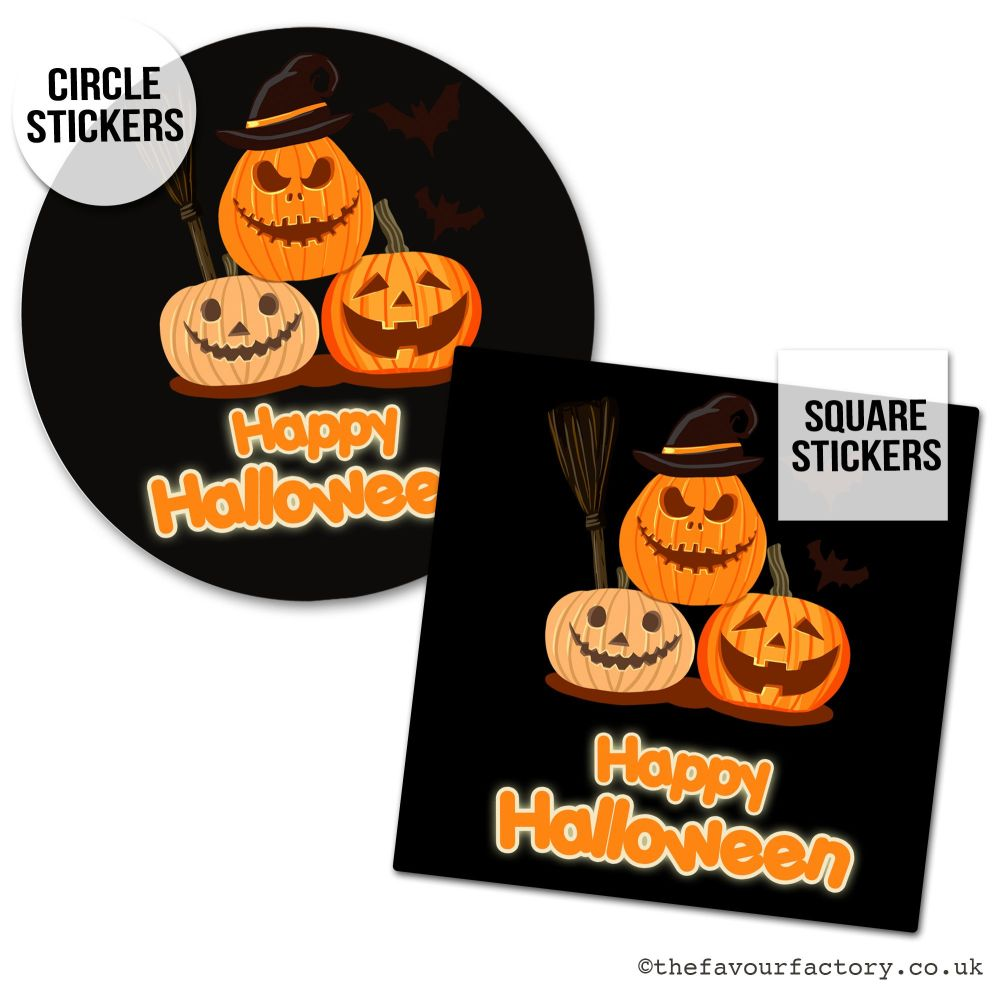 Happy Halloween Stickers Pumpkin Witch - x1 A4 Sheet